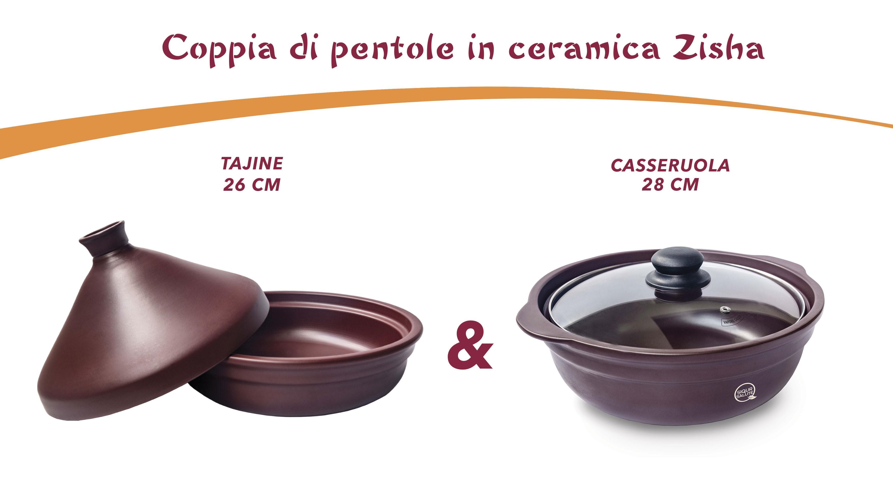 Coppia di pentole in ceramica Zisha (Tajine 26 & Casseruola 28)